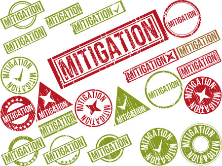 Collection of 22 red grunge rubber stamps with text MITIGATION . Vector illustration Ilustração