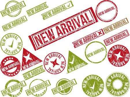 """텍스트 """"NEW ARRIVAL""""22 빨간색 그런 지 고무 스탬프의 컬렉션입니다. 벡터 일러스트 레이 션"""
