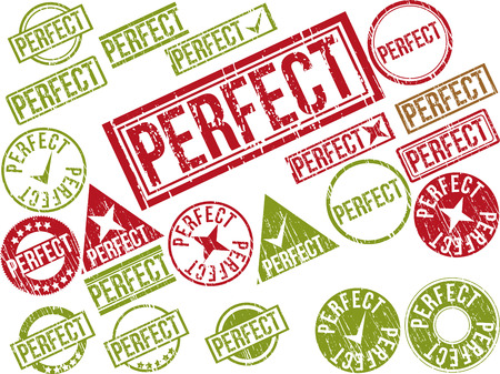 Collection of 22 red grunge rubber stamps with text PERFECT . Vector illustration