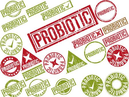 """amoeba: Raccolta di 22 rossi timbri in gomma grunge con il testo """"PROBIOTICI"""". Illustrazione vettoriale"""