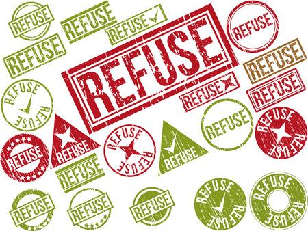 """disdain: Colecci�n de 22 sellos de goma del grunge de color rojo con el texto """"rechazar"""". Ilustraci�n vectorial Vectores"""