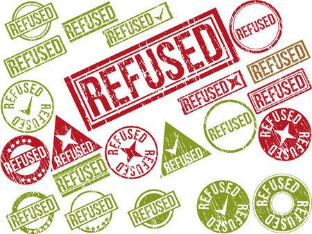"""refused: Colecci�n de 22 sellos de goma del grunge de color rojo con el texto """"se neg�"""". Ilustraci�n vectorial"""
