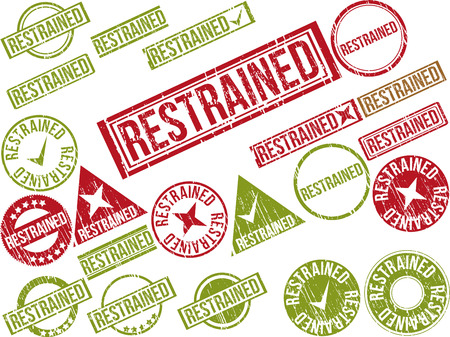 inhibited: Collection of 22 red grunge rubber stamps with text RESTRAINED . Vector illustration