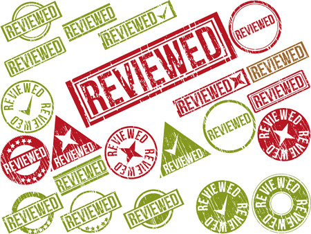 reviewed: Collection of 22 red grunge rubber stamps with text REVIEWED . Vector illustration Illustration