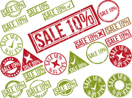 deduction: Collection of 22 red grunge rubber stamps with text SALE 10% . Vector illustration Illustration