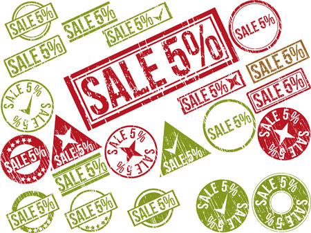 deduction: Collection of 22 red grunge rubber stamps with text SALE 5% . Vector illustration