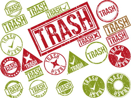 Collection of 22 red grunge rubber stamps with text TRASH . Vector illustration