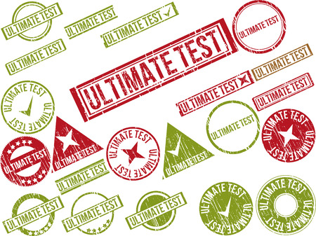 concluding: Collection of 22 red grunge rubber stamps with text ULTIMATE TEST . Vector illustration