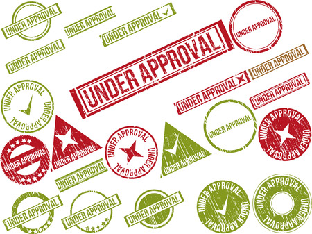 Collection of 22 red grunge rubber stamps with text UNDER APPROVAL . Vector illustration