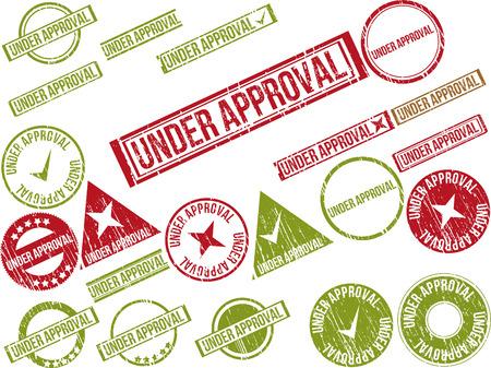 """approbation: Raccolta di 22 rossi timbri in gomma grunge con il testo """"in corso di approvazione"""". Illustrazione vettoriale Vettoriali"""