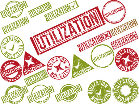 utilization: Collection of 22 red grunge rubber stamps with text UTILIZATION . Vector illustration Illustration