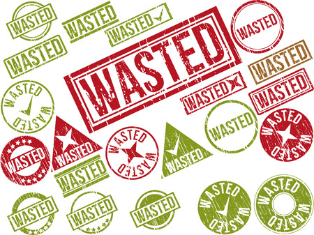 wasted: Collection of 22 red grunge rubber stamps with text WASTED . Vector illustration