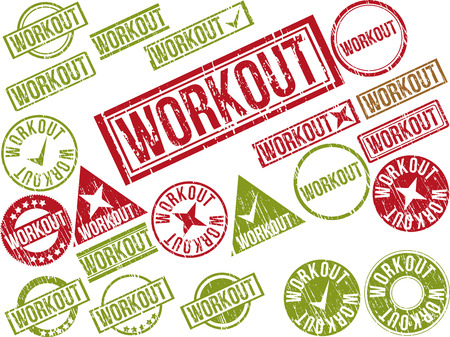 Collection of 22 red grunge rubber stamps with text WORKOUT . Vector illustration Ilustração