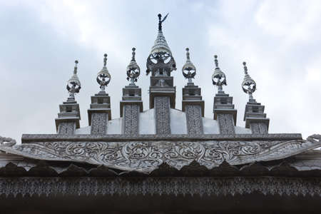 Thai style silver carving art on temple  photo