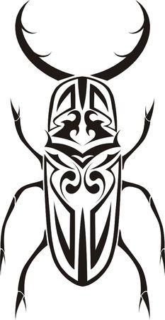 Stag beetle tribal tattoo Stock Photo - 4208961