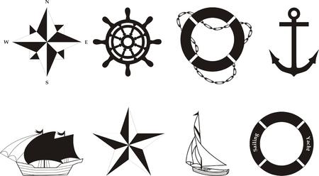 wind wheel: Nautica vettore simboli
