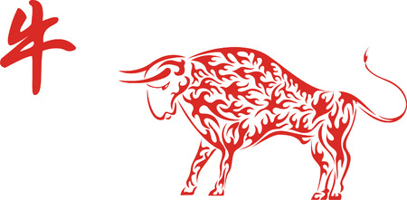 Red Chinese Ox with hieroglyph Vector