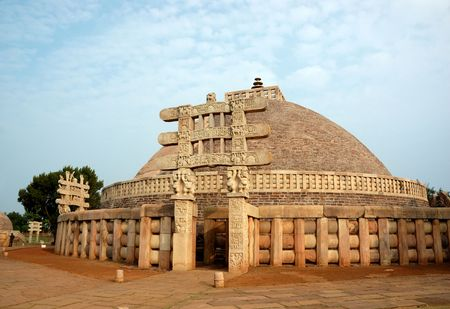 the stupa: Great Stupa at Sanchi ,India