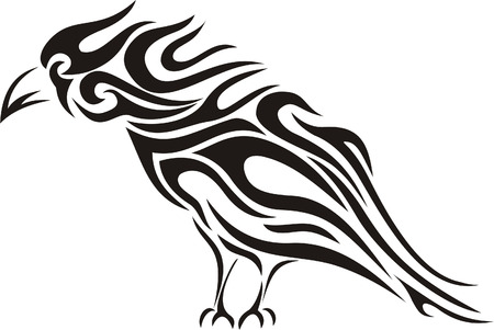 Tribal raven tattoo Vector