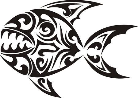tribal pattern: Tribal fish tattoo