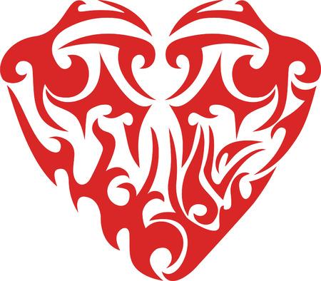 Tribal red heart Stock Vector - 4438536