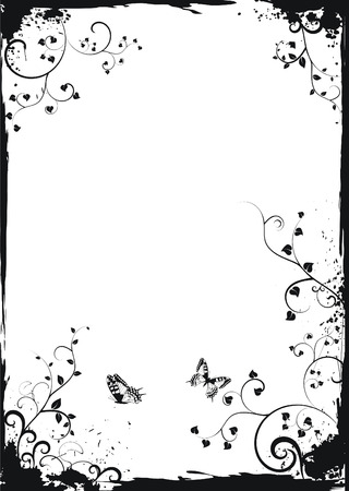 ringlets: Grunge white floral frame with butterflies Illustration