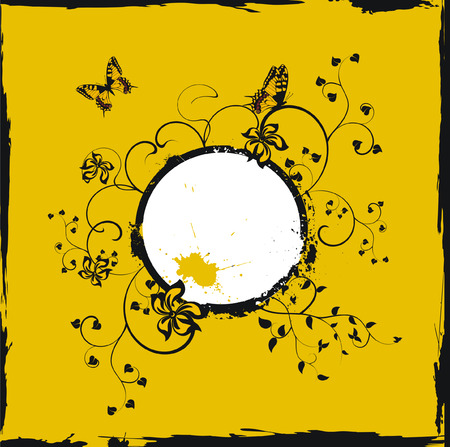 Grunge yellow floral frame with butterflies Vector