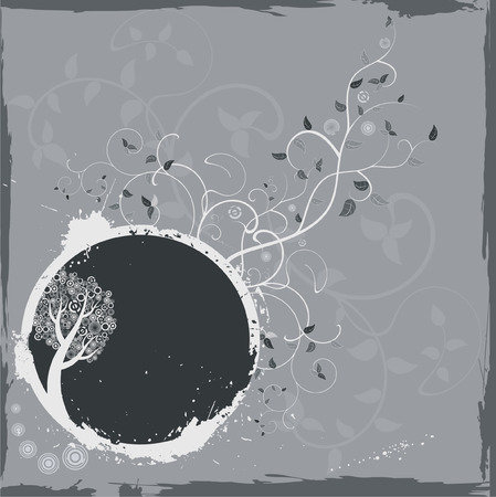 circumference: Grunge gray floral frame Illustration