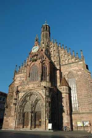 hauptmarkt: Frauenkirche (Church of our lady) on the Haupmarkt square in Nuremberg,Bavaria,Germany