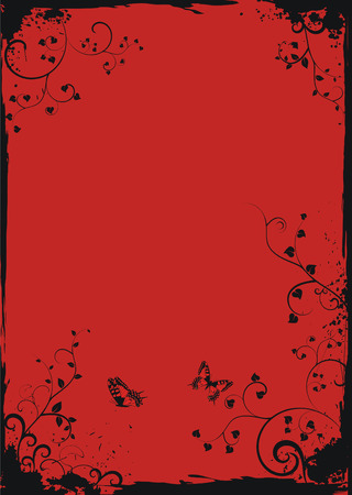 red spot: Grunge red floral frame with butterflies