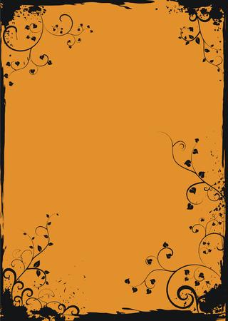 Grunge orange floral frame Stock Vector - 4498483