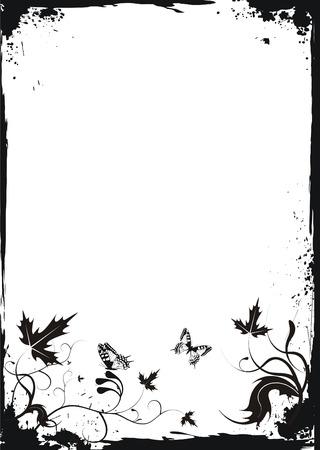 creeps: Grunge marco floral de color blanco con mariposas