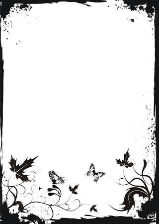 creeps: Grunge white floral frame with butterflies Illustration