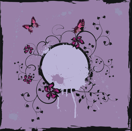 Grunge violet floral frame with butterflies Vector