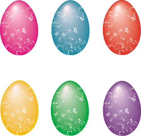 Collection of Easter eggs Vector