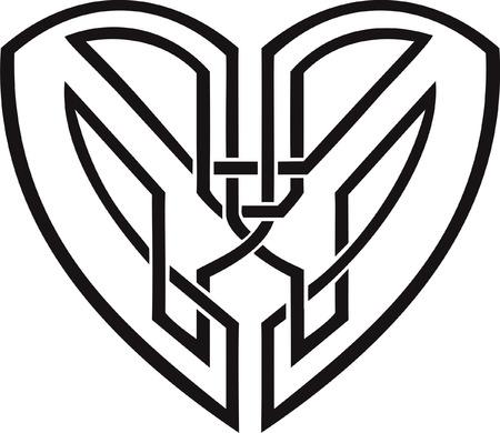Celtic heart - tribal tattoo Vector