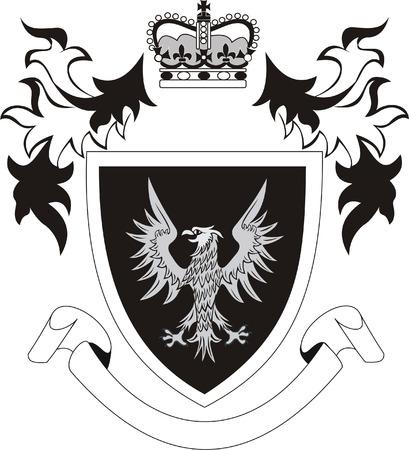 Grunge retro shield with eagle Vector