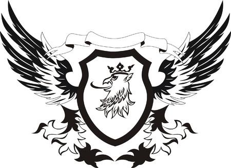 Grunge retro shield with griffon head  Vector