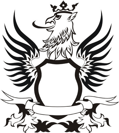griffon: Grunge retro shield with griffon head