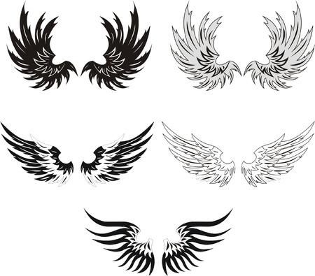 Colección de alas grunge Ilustración de vector