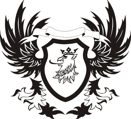 griffin: Grunge retro shield with griffon head Illustration