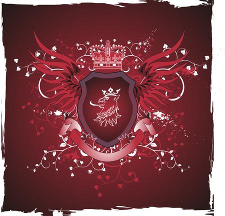 Grunge vintage emblem with griffins head Vector