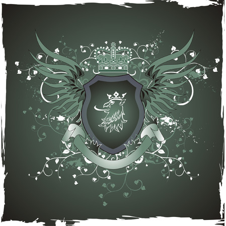 Grunge vintage emblem with griffins head Vector