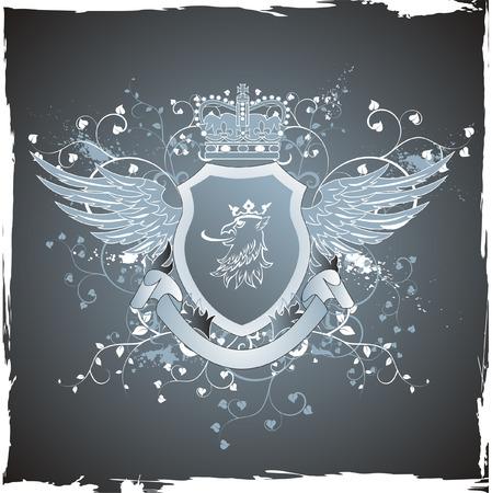 Grunge retro emblem with griffins head
