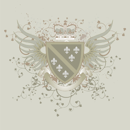 Grunge coat of arms with Fleur-de-lis Stock Vector - 4804071