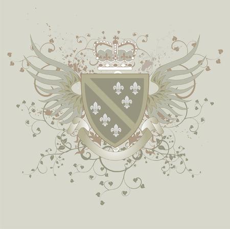 Grunge coat of arms with Fleur-de-lis Stock Vector - 4804071