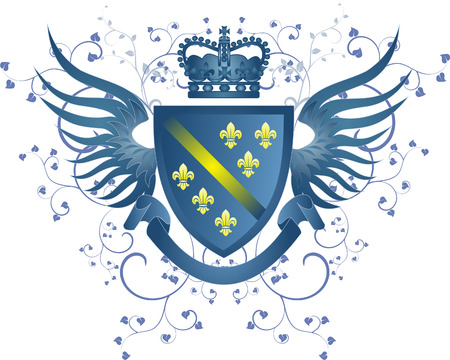 Grunge blue coat of arms with Fleur-de-lis Vector