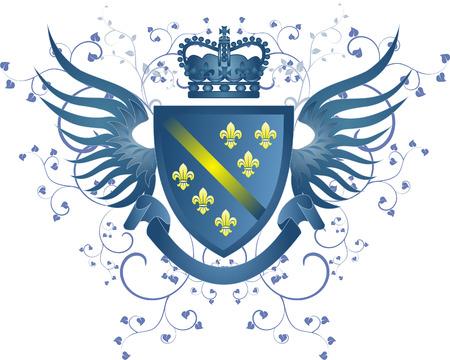 Grunge blue coat of arms with Fleur-de-lis