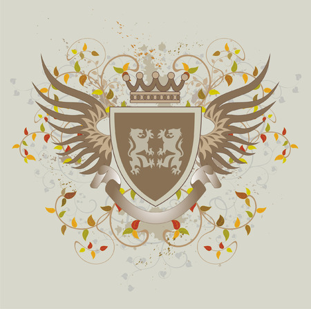 Grunge vintage shield with lions Vector
