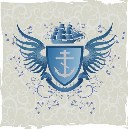 cross and wings: Emblema de grunge Vintage con Cruz del mariner